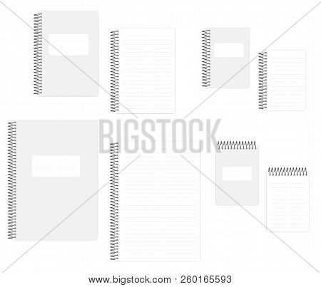 Two Column Dashed Line Notebook With Tear Off Sheets, Realistic Vector Mockup Set. A4, A5, A6 Size.