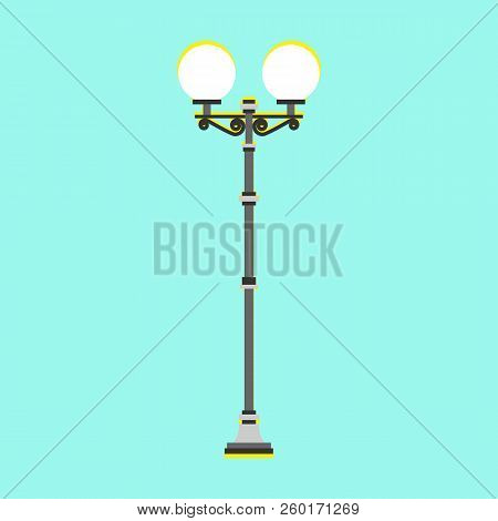 City Street Lamp. Lamppost, Electric Lamps. Vector Illustration. Flat Style. For Infographic, Catalo