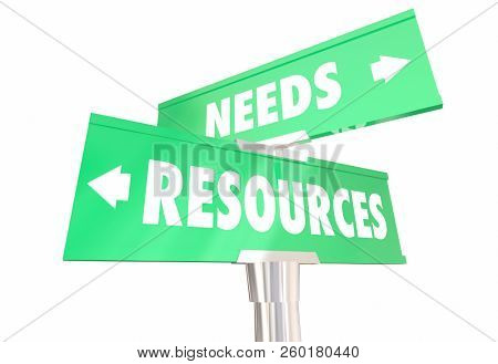 Needs Vs Resources Meeting Requirements 2 Two Way Road Signs 3d Illustration