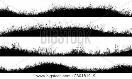 Set Of Horizontal Banners Of Wavy Meadow Silhouettes With Grass.