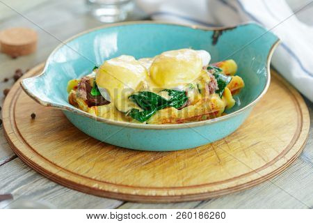 Savory Belgian Waffles With Salad And Poached Egg