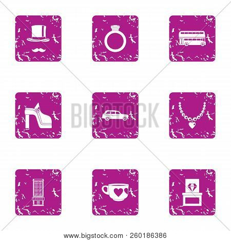 Rich Life Icons Set. Grunge Set Of 9 Rich Life Icons For Web Isolated On White Background
