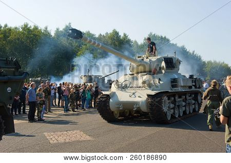 Enschede, The Netherlands - 01 Sept, 2018: A Tank From The Second World War Rolling During A Militar