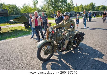 Enschede, The Netherlands - 01 Sept, 2018: A Motorcycle Passing By During A Military Army Show.