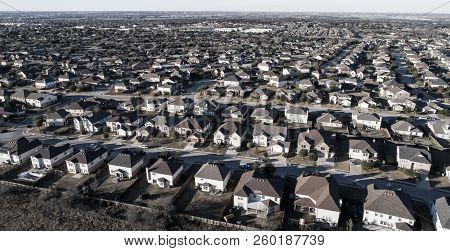 Round Rock Suburbia Curved Street On Neighborhood Layout Urban Development Aerial Drone View High Ab