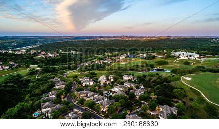 Sunset Above Modern Suburb Aerial Drone View Above Rows Of Modern Luxury Homes Overlooking Texas Hil