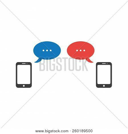 Flat Design Style Vector Illustration Concept Of Two Smartphones Symbol Icon With Two Speech Bubbles