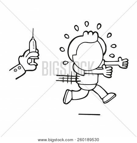 Vector Hand-drawn Cartoon Of Man Afraid And Running From Doctor's Syringe