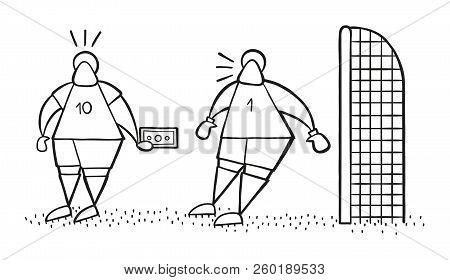 Vector Illustration Cartoon Soccer Player Man Offering Bribe To Goalkeeper.