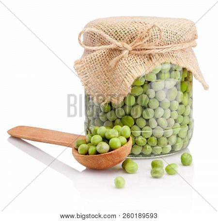 Glass Jar Of Green Peas Isolated On White Background