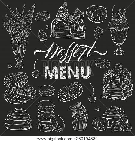 Sweet Beautiful Desserts Set. Clipart For A Restaurant Or Cafe Menu. Line Art. Piece Of Cake With Fr