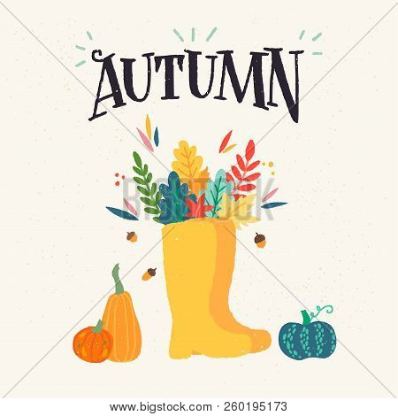 Autumn - Unique Hand Drawn Lettering And Clipart. Poster Design For Fall With Colourful Fallen Leave