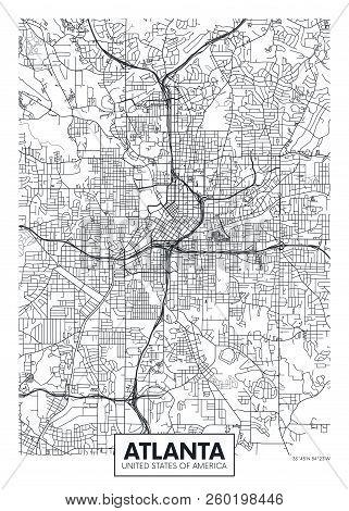 City Map Atlanta, Travel Vector Poster Design