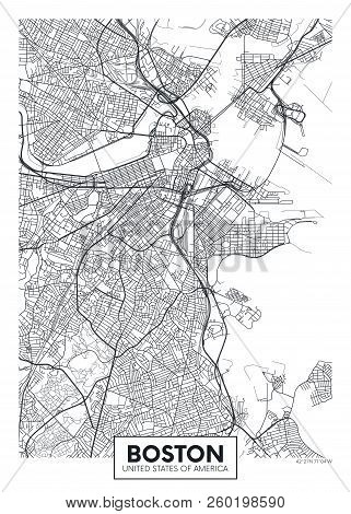 City Map Boston, Travel Vector Poster Design