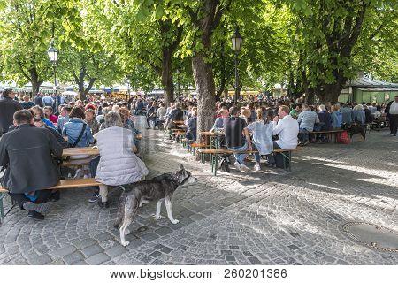 Munich, Germany - May 13, 2017: Munich Germany, Food Hall At Victuals Market (viktualienmarkt)
