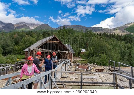 August 12 2018 - Kennecott Alaska: A Tour Group Walks Into The Abandoned Copper Mine, Kennecott Mine
