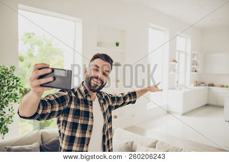 Apartment Purchase Concept. Let's Go And I'll Show You My House! Young Man Make Call On Front Camera