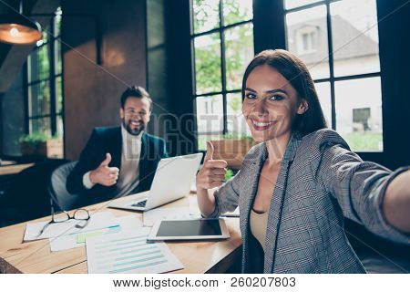 Self-portrait Of Two Cheerful Modern Professional Stylish Classic Elegant People, Managers, Coworker