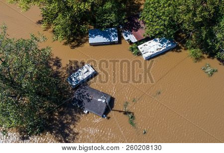 Aerial Drone View Looking Straight Down From Above Disaster Zone After Massive Hurricane Flooded And