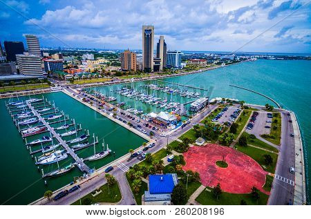 Corpus Christi , Texas City By The Bay With Large Marina T-head And Harbor Aerial Drone View On The
