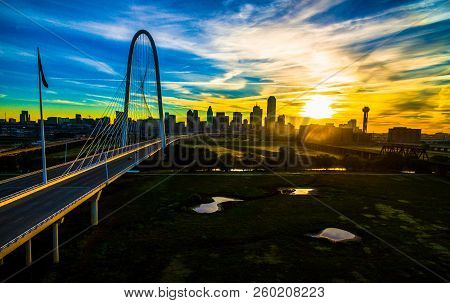 Dallas , Texas , Aerial Drone View Next To Suspension Bridge Margaret Hunt Hill Bridge With Sunrise