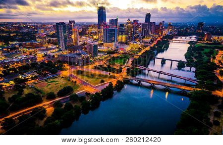 Aerial Drone View Of Austin , Texas Downtown Skyline Cityscape With City Lights On At Dawn Right As