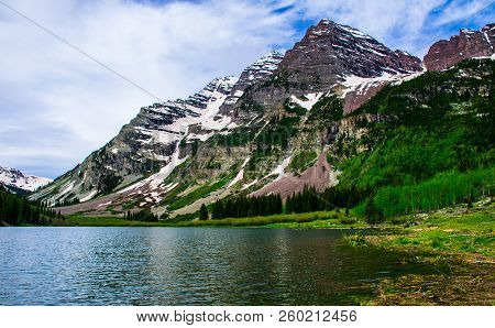 Infamous Maroon Bells , Summertime At Crater Lake Of The Maroon Bells - Snowmass Wilderness Near Asp
