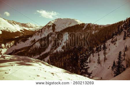 Kachina Peak Winter Wonderland Above Taos New Mexico Snow Covered Ski Valley With Large Rocky Mounta