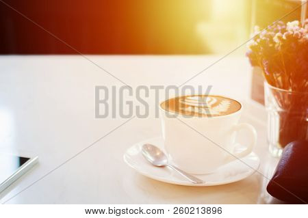 Coffee Cup On White Table Background Selective Focus Soft Tone With Copy Space.