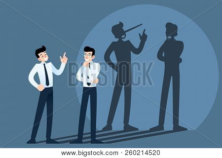 Happy Smiling Lies, Cheat, Hoax Businessman Character Chatting In Front Of The Wall With Shadow Of H