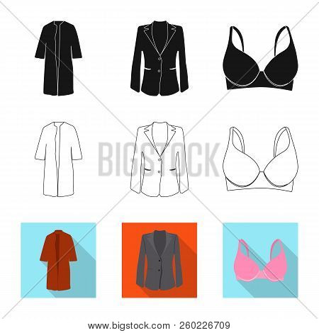 Vector Illustration Of Woman And Clothing Sign. Set Of Woman And Wear Vector Icon For Stock.
