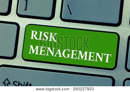 Text Sign Showing Risk Management. Conceptual Photo Evaluation Of Financial Hazards Or Problems With
