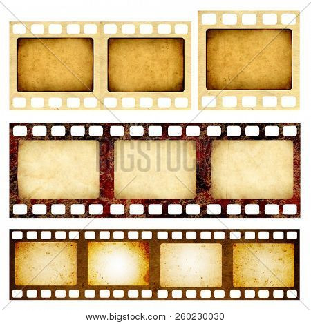 Set of retro filmstrips with grunge paper texture. Object isolated on white background. Copy space for text. Mock up template