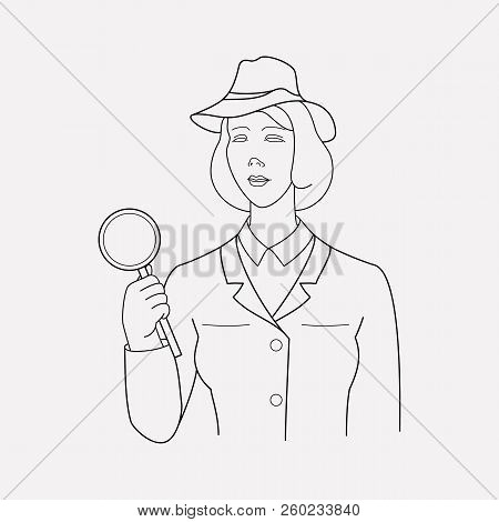 Investigator Icon Line Element. Vector Illustration Of Investigator Icon Line Isolated On Clean Back
