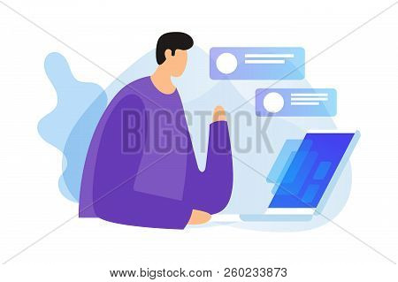 Сoncept Of Digital Technologies, Social Networks And Dialogues Over Internet. Young Man Sits With La