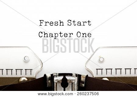 Motivational Slogan Fresh Start Chapter One Typed On Vintage Typewriter.