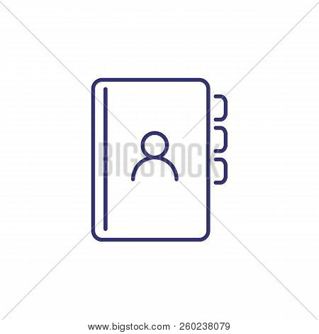 Address Book Line Icon. Contact List, Organizer, Bookmark, Avatar. Office Concept. Can Be Used For T