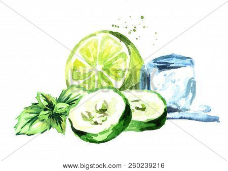 Ice Cube, Cucumber And Green Lime With Mint Composition Isolated On White Background. Watercolor Han