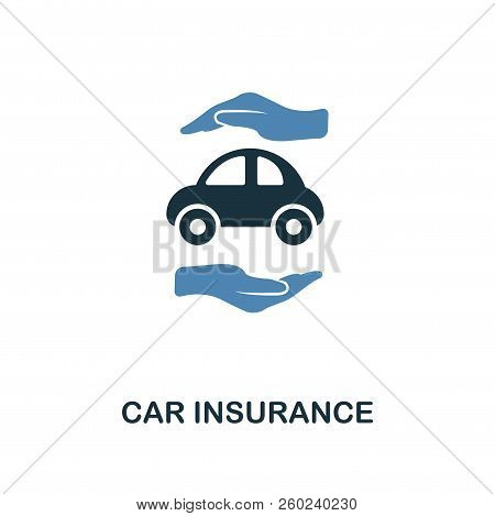 Car Insurance Icon In Two Color Design. Line Style Icon From Insurance Icon Collection. Ui And Ux. P
