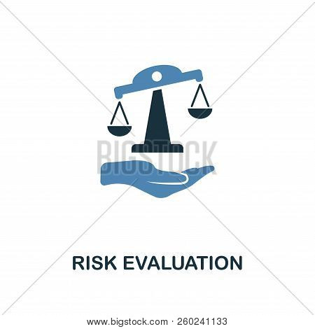 Risk Evaluation Icon In Two Color Design. Line Style Icon From Insurance Icon Collection. Ui And Ux.