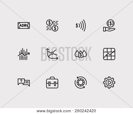 Trading Icons Set. Invest Money And Trading Icons With Portfolio, Liquidity And Forex. Set Of Analys