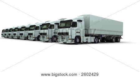 Eight White Trucks In A Row