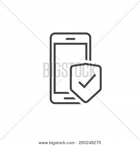 Mobile Phone Security Protection Vector Icon, Line Outline Art Smartphone Protected With Shield Sign