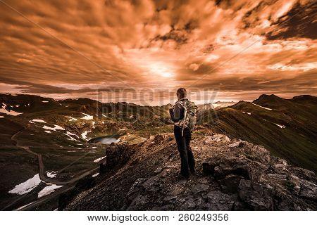 Tourist Admires View From California Pass Towards Lake Como And Poughkeepsie Gulch Vintage Sepia Eff