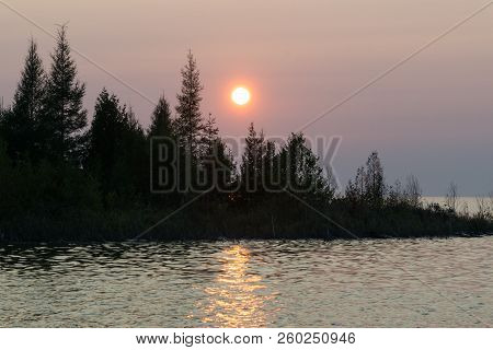 Lake Huron Landscape Sunset With Conifer Tree Silhouettes