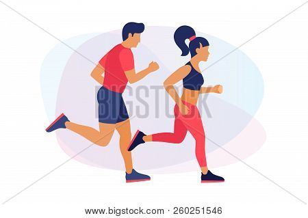 Running Young People In Sportswear. Man And Woman On Run. Concept Of Sport And Healthy Lifestyle. Ve