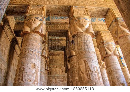 Beautiful Interior Of The Temple Of Dendera Or The Temple Of Hathor. Colorful Zodiac On The Ceiling
