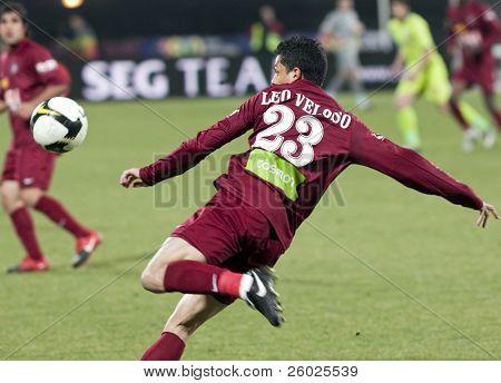 CLUJ-NAPOCA, ROMANIA - FEBRUARY 28: Leo Veloso in action at a Romanian National Championship soccer game CFR Cluj vs. Steaua Bucuresti, February 28, 2010 in Cluj-Naoca, Romania.