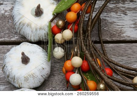 Colored Pumpkins For Fall Background With Colored Berries.