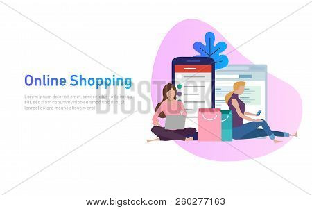 Sale, Consumerism And People Concept. Young Woman Shop Online Using Smartphone And Laptop. Vector Il